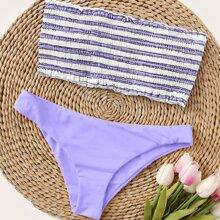 Striped Smocked Bandeau Bikini Swimsuit