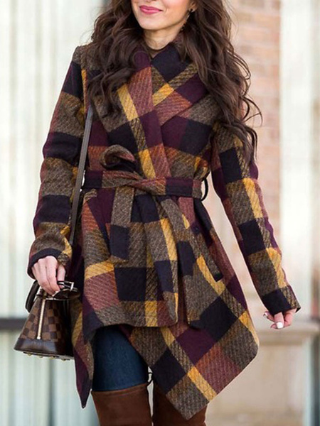 Milanoo Abrigo cruzado para mujer, cuello vuelto a cuadros, manga larga con cordones, abrigos de invierno