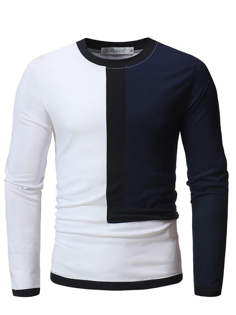 Ericdress Patchwork Color Block Slim Scoop Mens Casual T Shirts