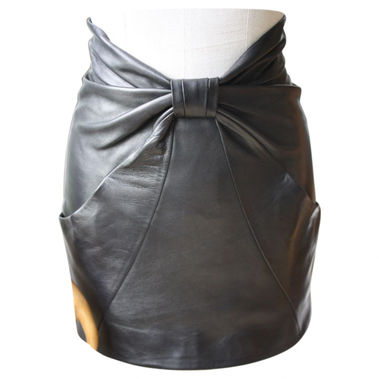 Balmain - Jupe   pour femme en cuir - noir