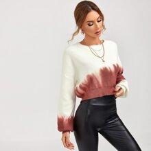 Drop Shoulder Tie Dye Sweater