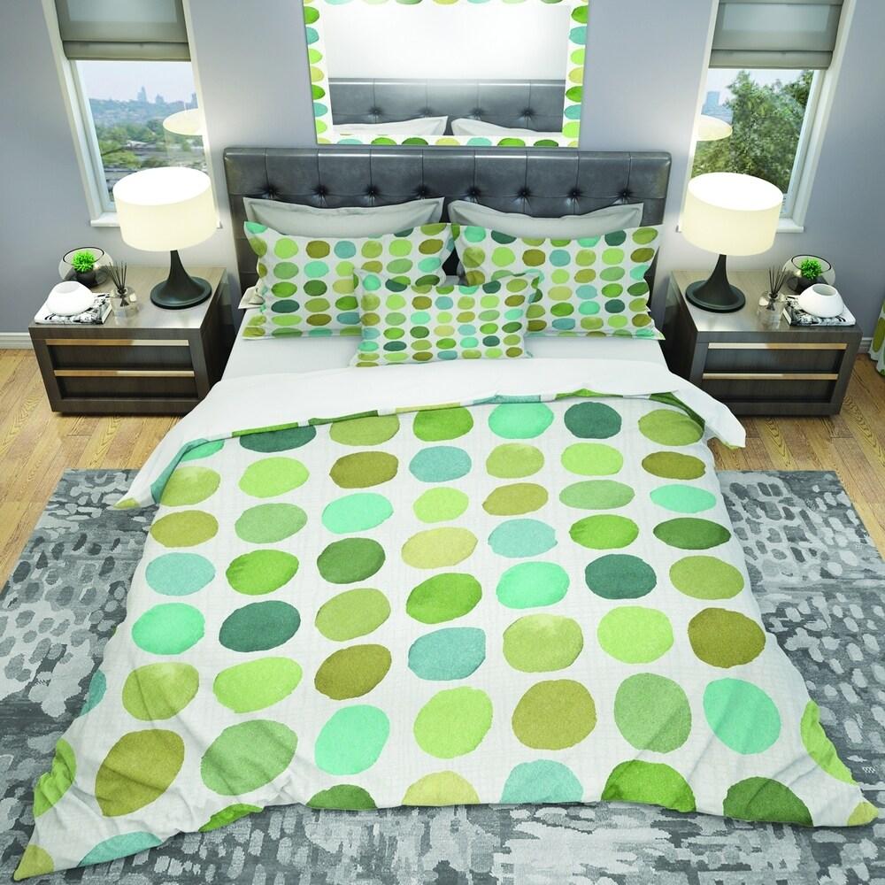Designart 'geometric Green Circle I' Geometric Bedding Set - Duvet Cover & Shams (Twin Cover + 1 sham (comforter not included))
