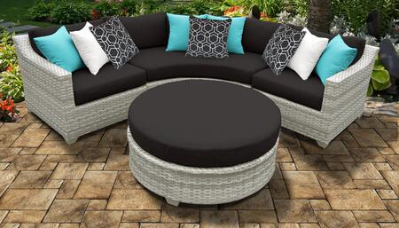 Fairmont Collection FAIRMONT-04a-BLACK 4-Piece Wicker Patio Set with Round Coffee Table  Curved Armless Chair  Left Arm Chair and Right Arm Chair -