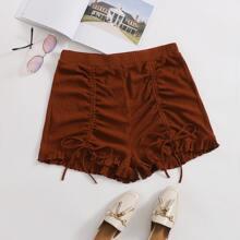 Plus Drawstring Front Ruffle Hem Shorts