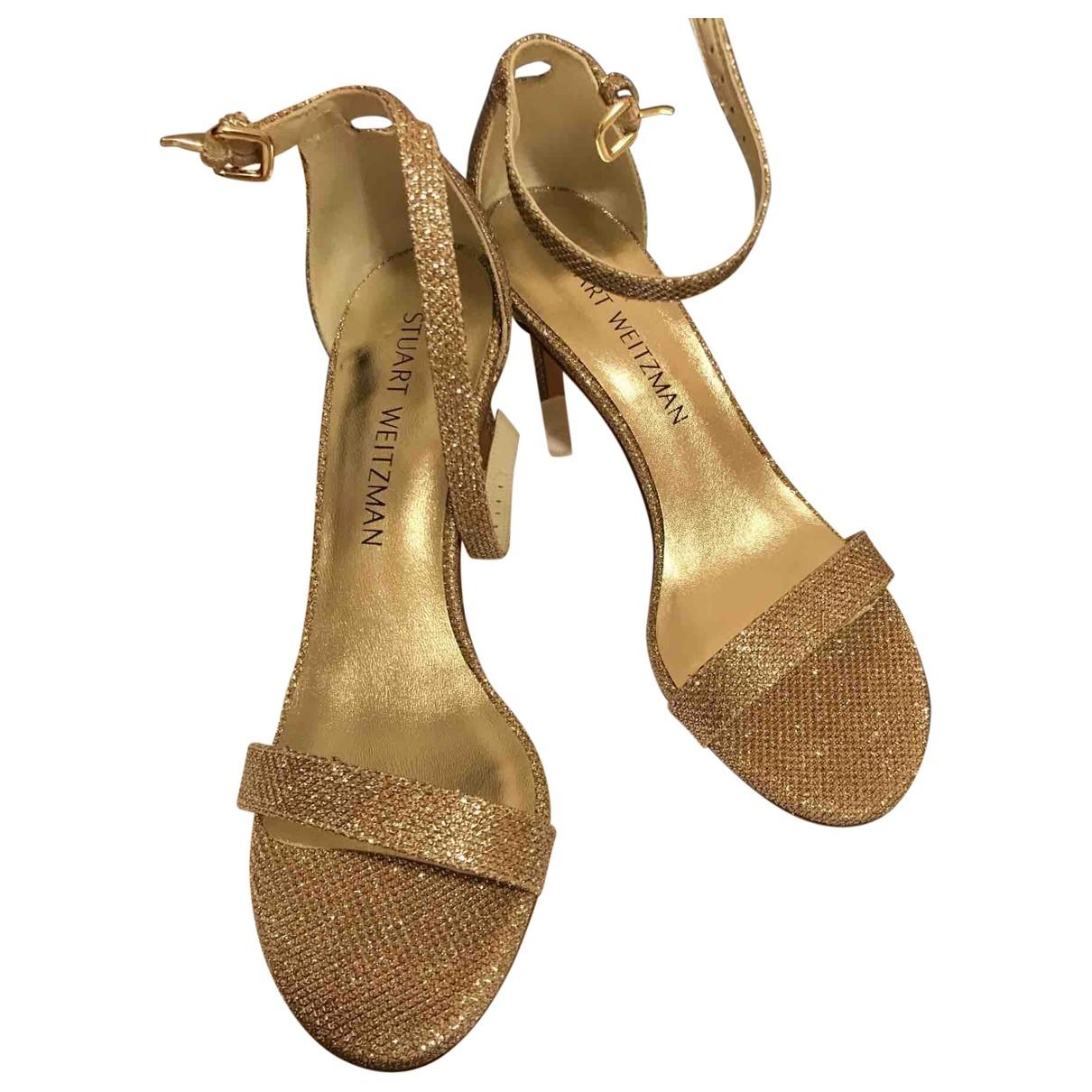Stuart Weitzman \N Gold Glitter Sandals for Women 5.5 US