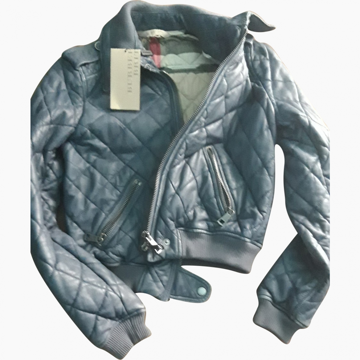 Burberry \N Blue Leather Leather jacket for Women 34 FR