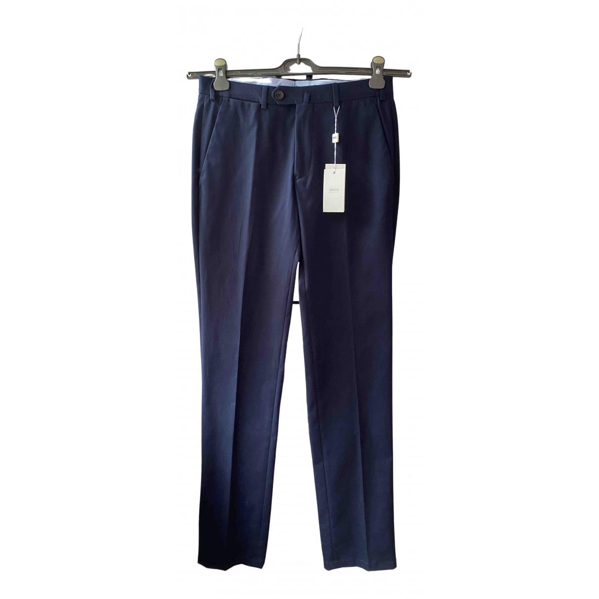 Armani Collezioni - Pantalon   pour homme en coton - marine