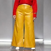 PU Hose mit doppelten Taschen und breitem Beinschnitt