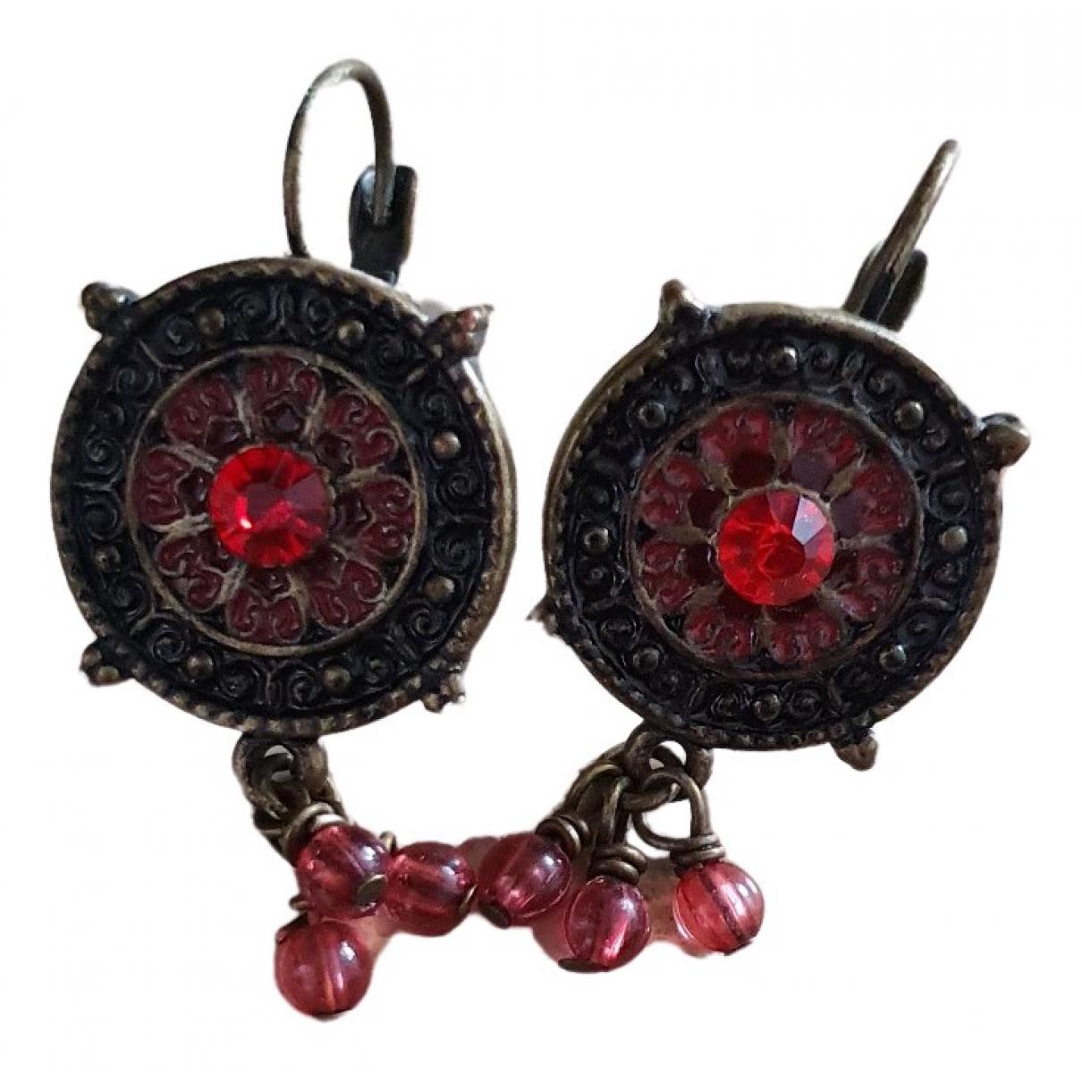 - Boucles doreilles   pour femme en metal - rouge