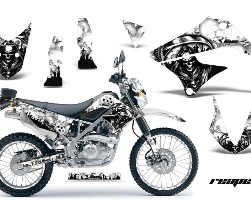 AMR Racing Graphics MX-NP-KAW-KLX125-10-16-RP W Kit Decal Sticker Wrap + # Plates For Kawasaki KLX125 2010-2016 REAPER WHITE