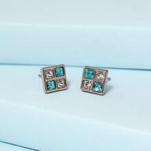 Rhinestone Inlaid Square Stud Earrings