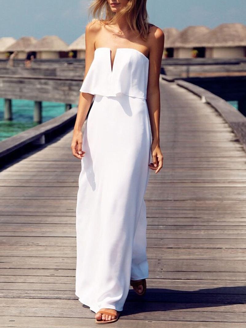 Ericdress Chiffon Column Strapless Beach Wedding Dress