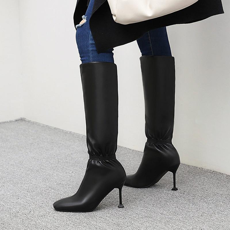 Ericdress Stiletto Heel Square Toe Slip-On Short Floss Boots