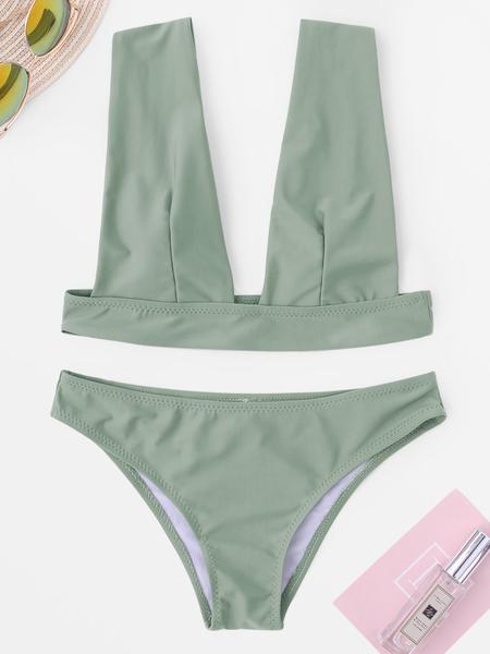 Yoins Army Green Basic Low Cut Bikini Set