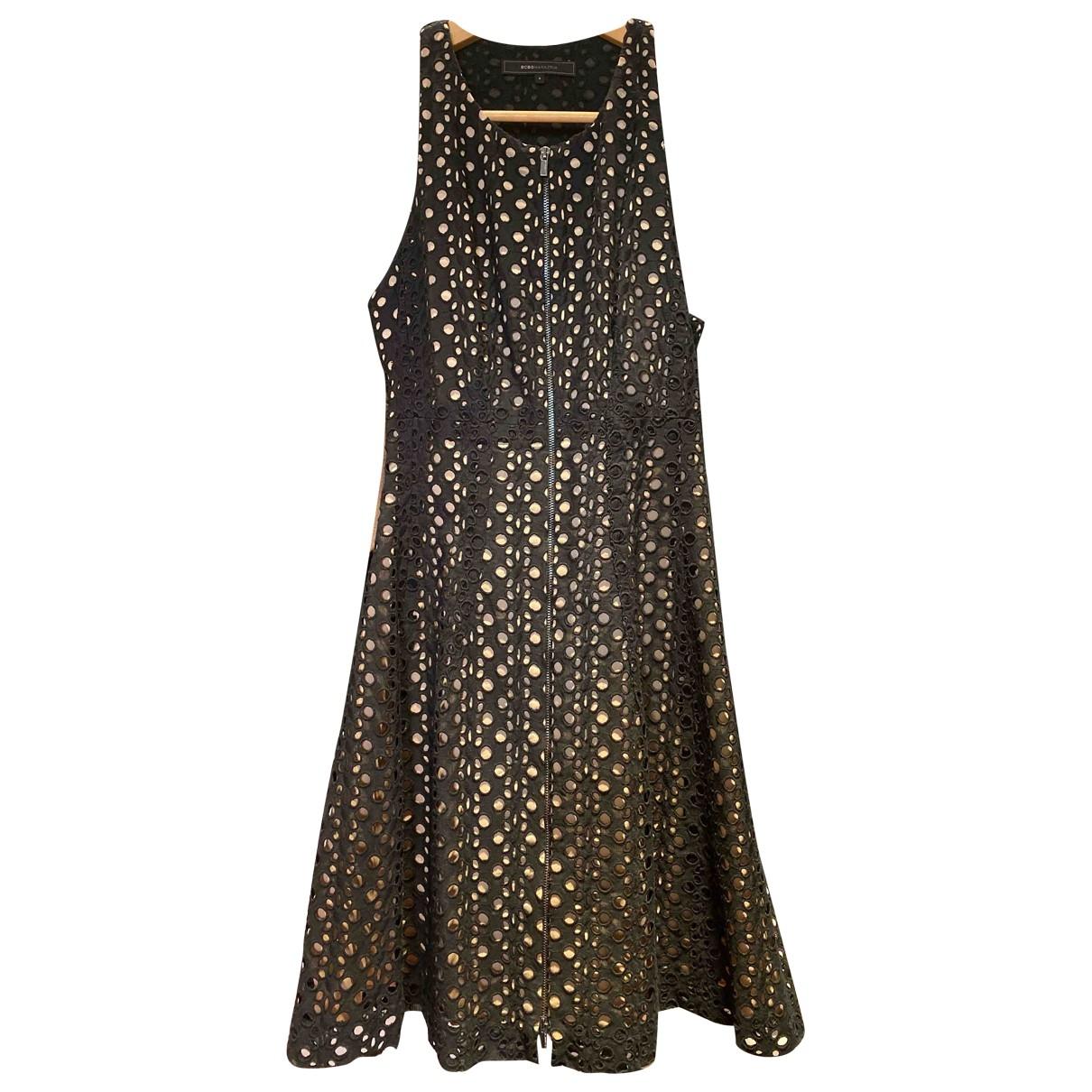 Bcbg Max Azria \N Kleid in  Schwarz Baumwolle