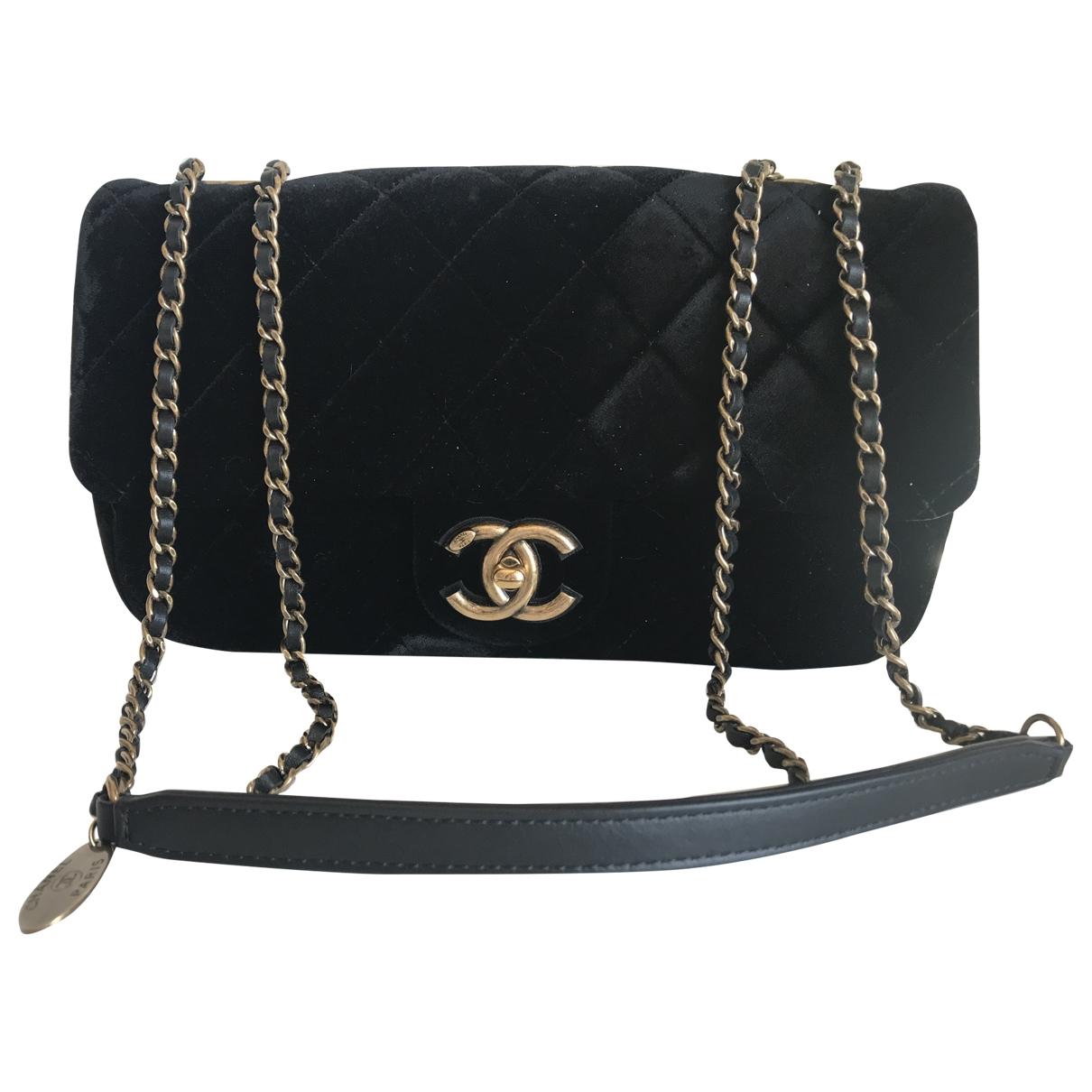 Chanel - Sac a main Timeless/Classique pour femme en velours - noir