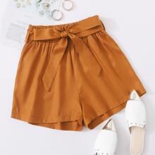 Shorts Cinta Liso Camel Casual