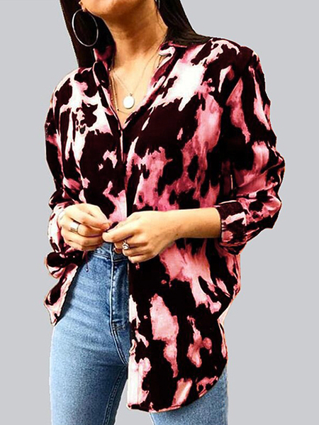 Yoins Button Design Tie Dye Classic Collar Long Sleeves Blouse