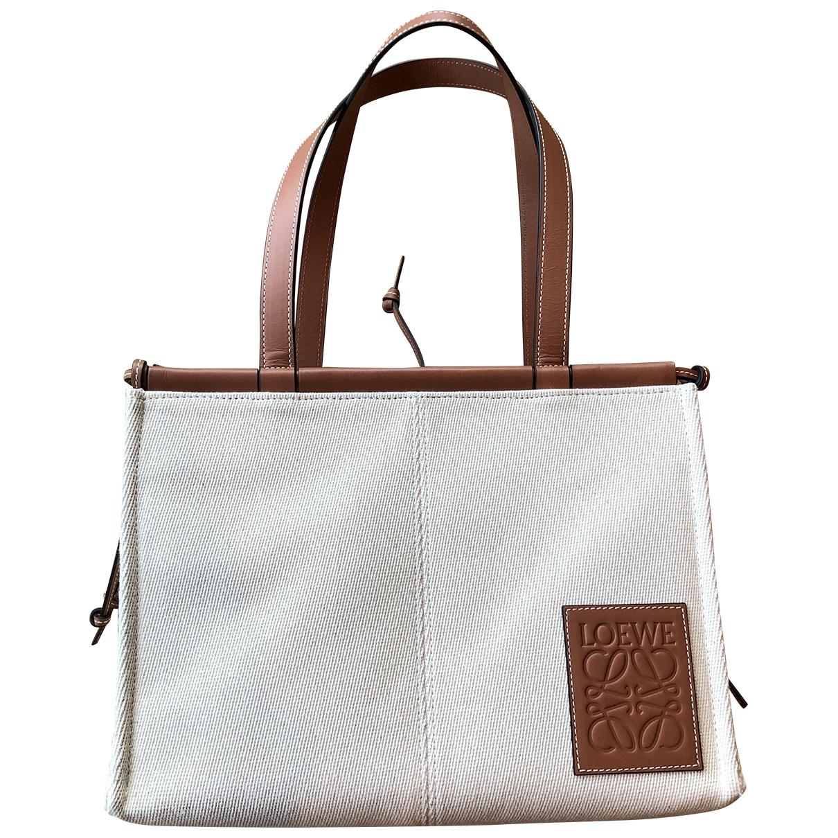 Loewe Cushion Handtasche in  Ecru Leinen
