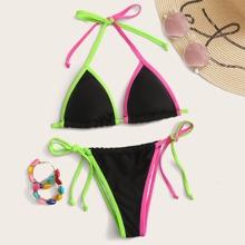Contrast Binding Triangle Tie Side Bikini Swimsuit