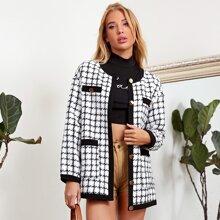 Mantel mit einreihiger Knopfleiste und Karo Muster
