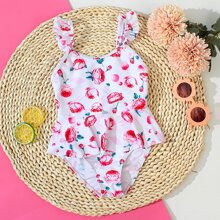 Toddler Girls Floral Ruffle One Piece Swimsuit