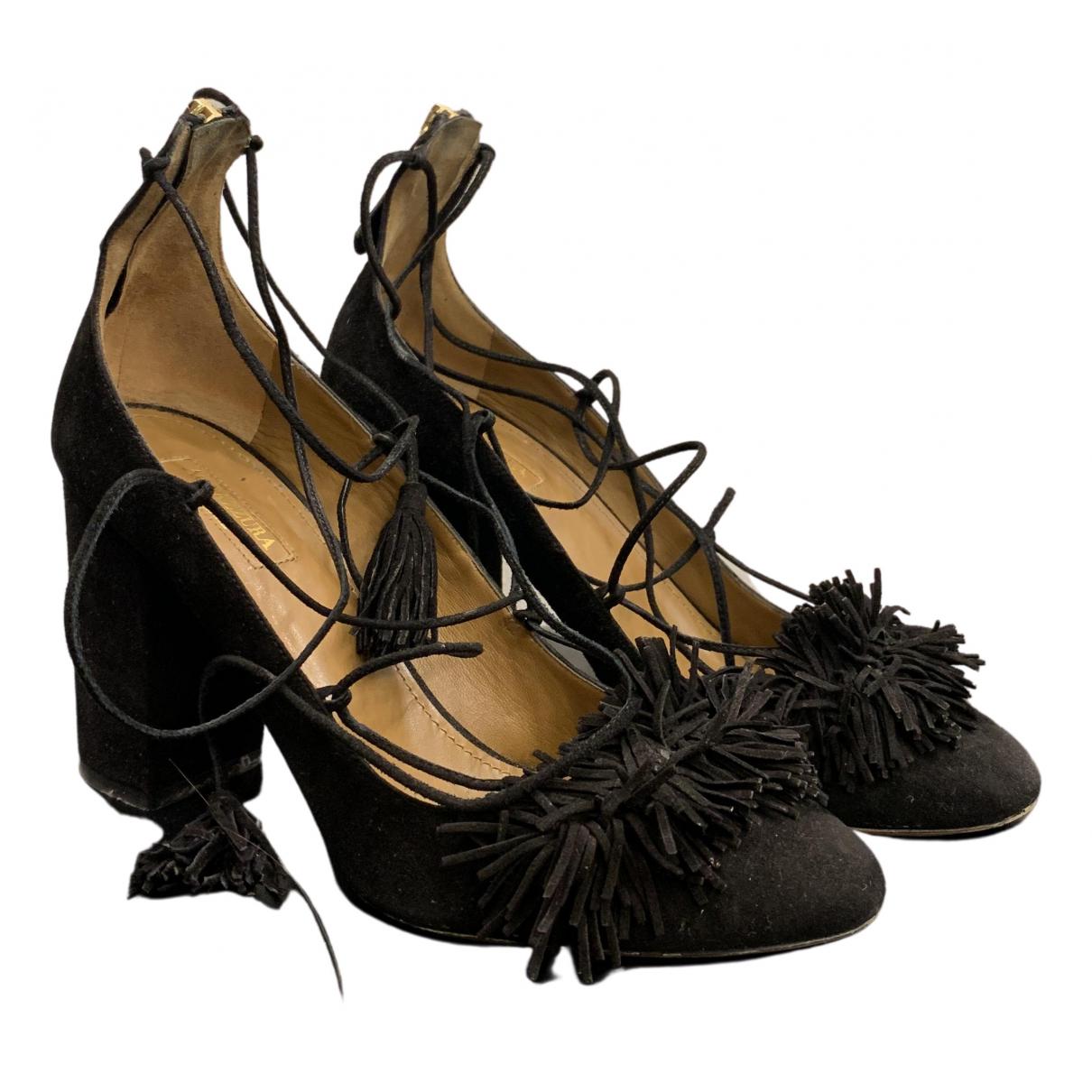Aquazzura - Escarpins   pour femme en suede - noir