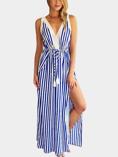 Yoins Blue Self-tied Stripe V-neck Slit Hem Dress