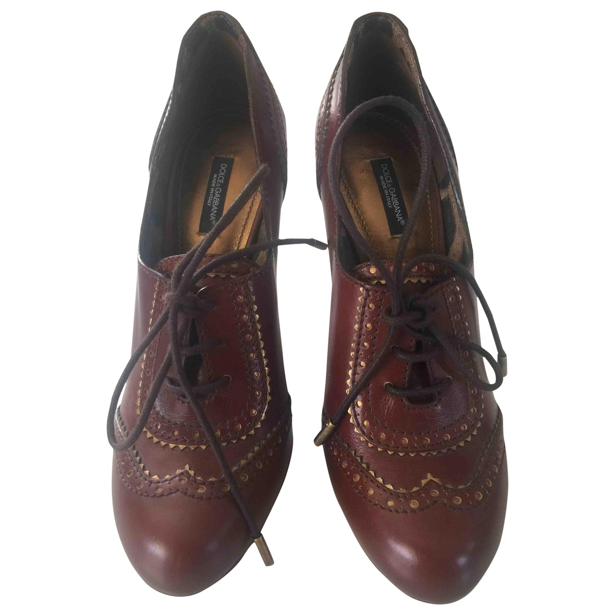 Dolce & Gabbana \N Burgundy Leather Ankle boots for Women 39 EU