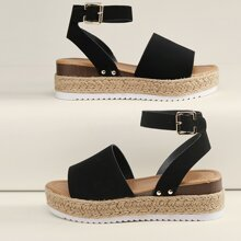 Open Toe Buckled Ankle Flatform Espadrille Sandals