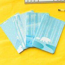 1pack Polar Bear Print Cover Random Notebook