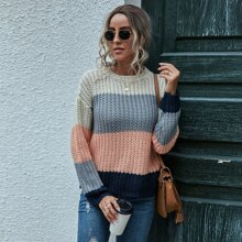 Color Block Ribbed Knit Drop Shoulder Sweater