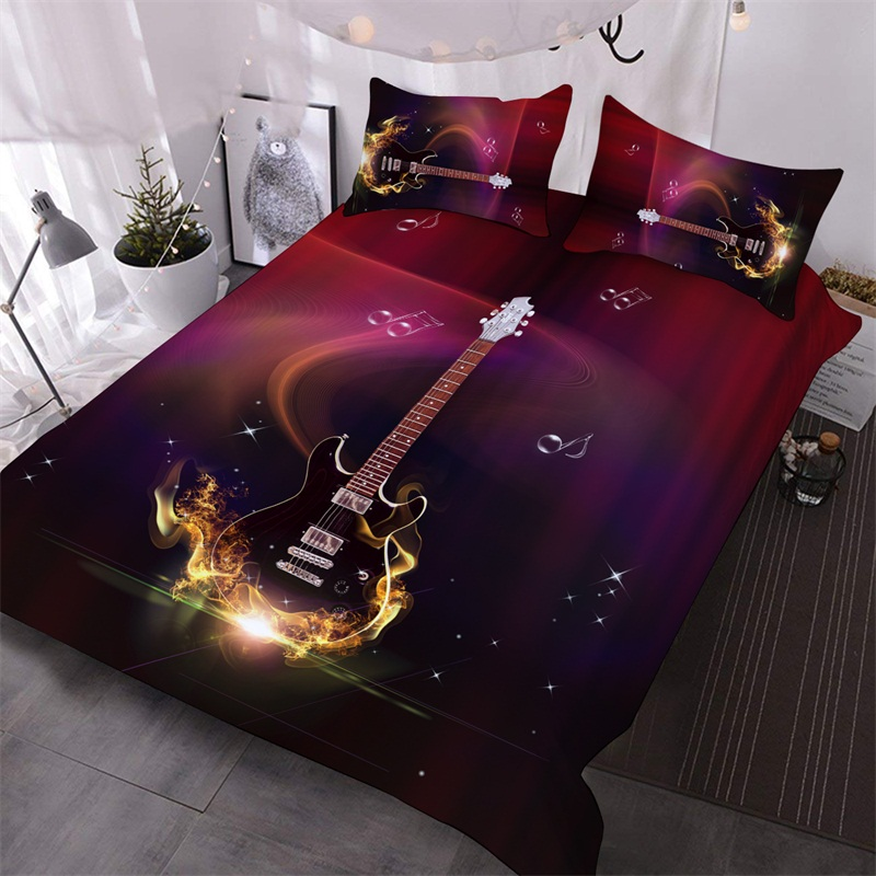 Guitar Fire 3D Warm Comforter 3-Piece Soft Cooling Comforter Sets with 2 Pillowcases
