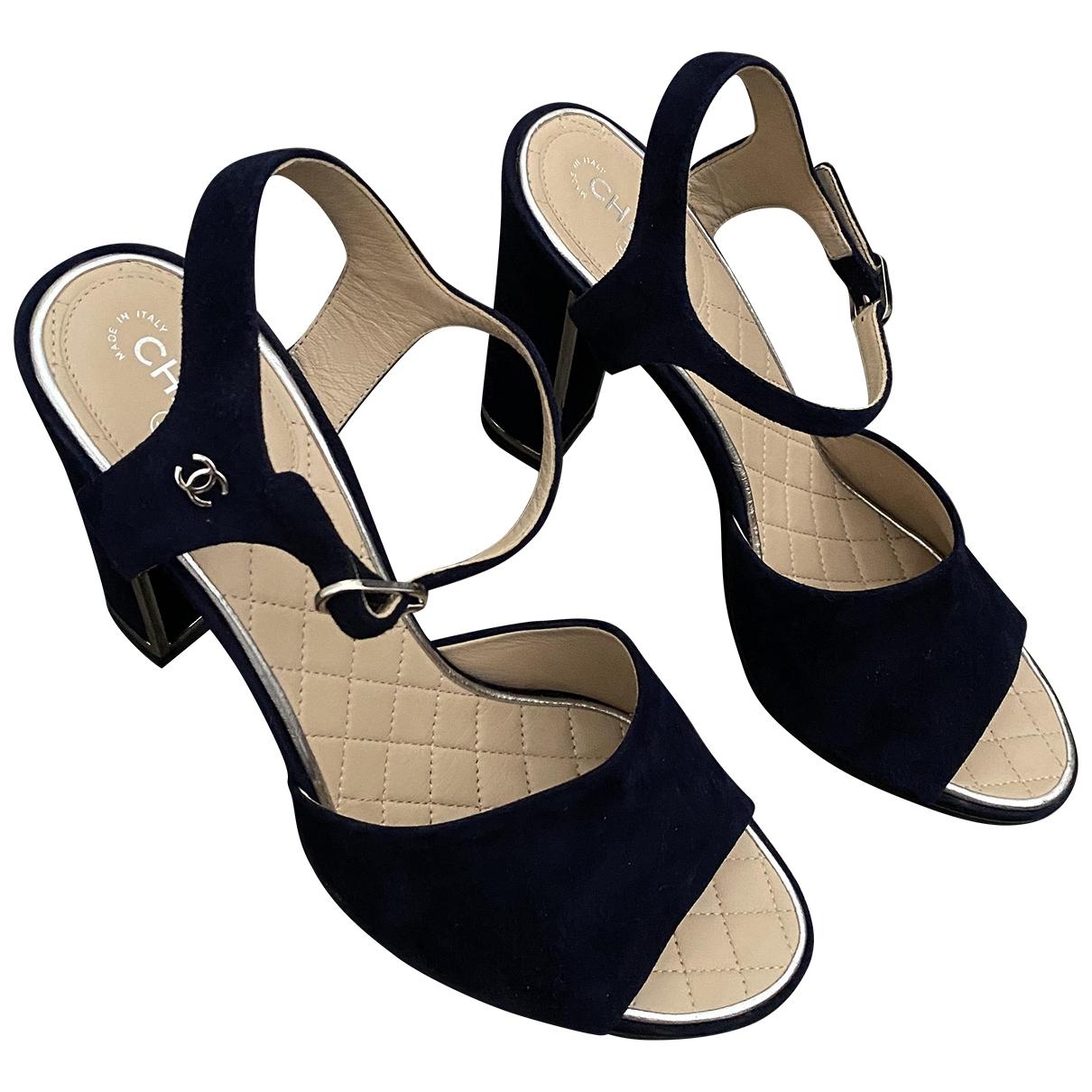 Chanel - Sandales   pour femme en suede - marine