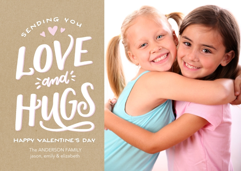 Valentine's Cards Flat Glossy Photo Paper Cards with Envelopes, 5x7, Card & Stationery -Valentine Love & Hugs Heart