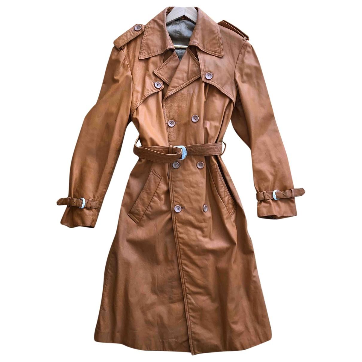 - Trench   pour femme en cuir - marron