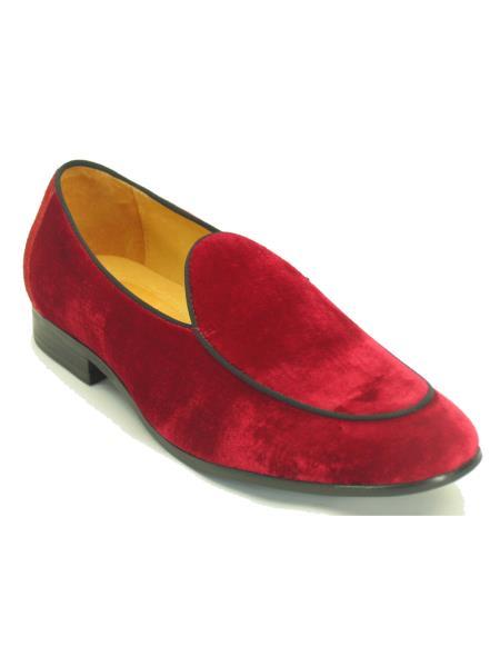 Carrucci Men's Red Genuine Velvet Fashionable Loafer Shoe