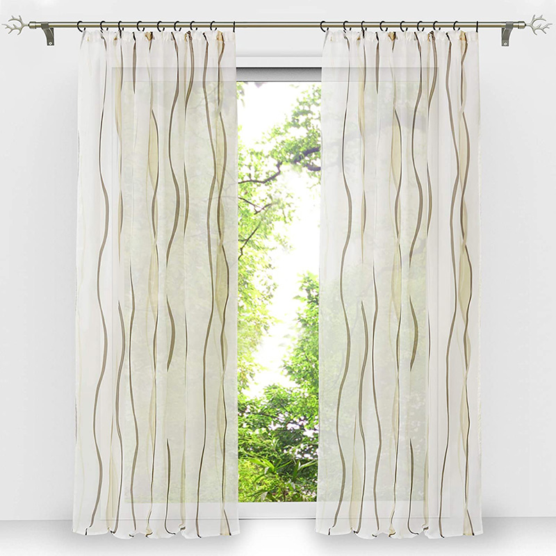 Modern Stripe Custom Living Room Sheer Curtains Breathable Voile Drapes No Pilling No Fading No off-lining