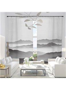 3D Printed Light Gray Color Simple Landscape Painting Custom Semi Blackout Curtains