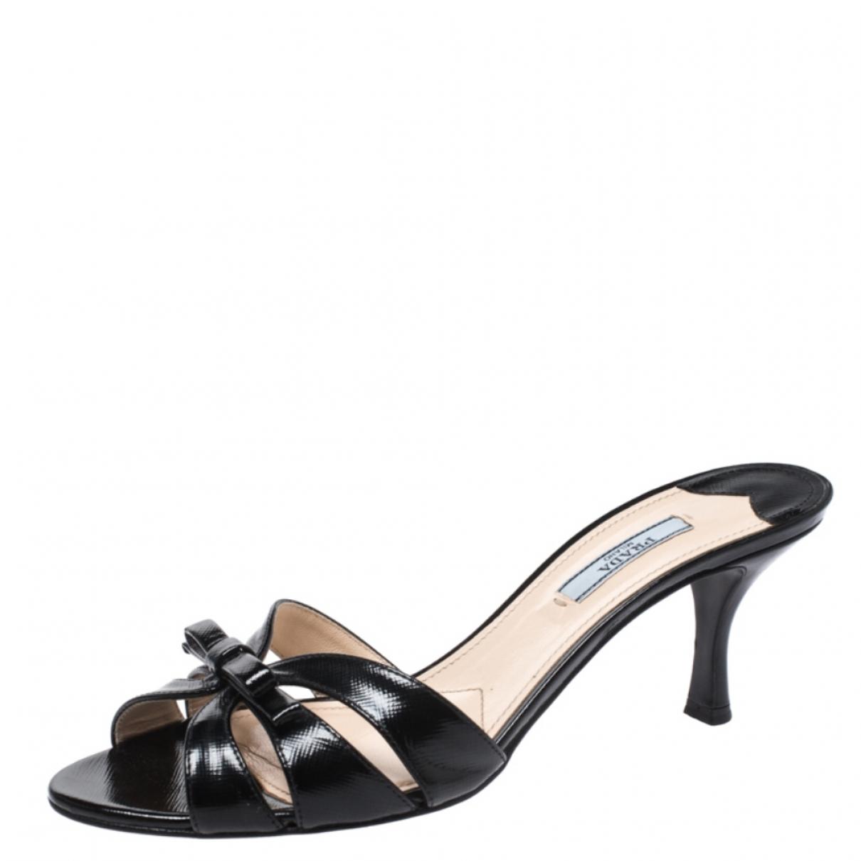 Prada \N Black Patent leather Sandals for Women 7.5 US