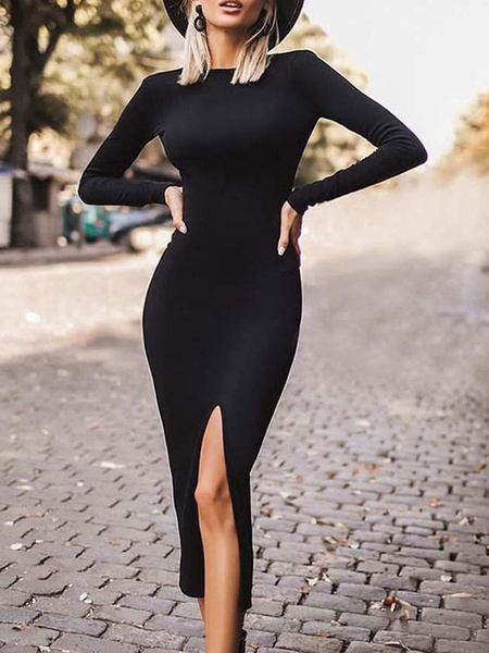 Milanoo Solid Black Bodycon Slit Front Dress Midi Dress Sheath Dress