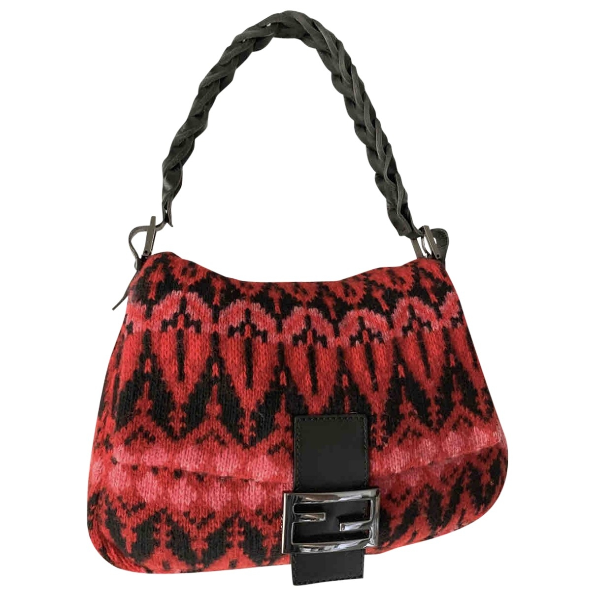 Fendi Mamma Baguette  Handtasche in  Rot Leinen