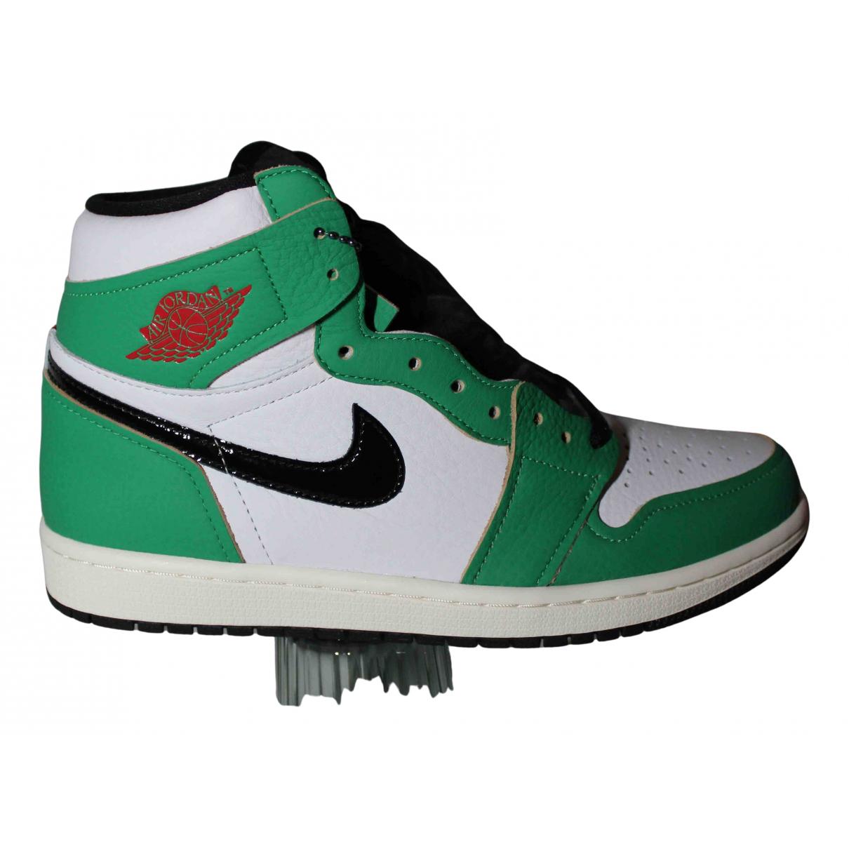 Jordan - Baskets Air Jordan 1  pour femme en cuir - vert