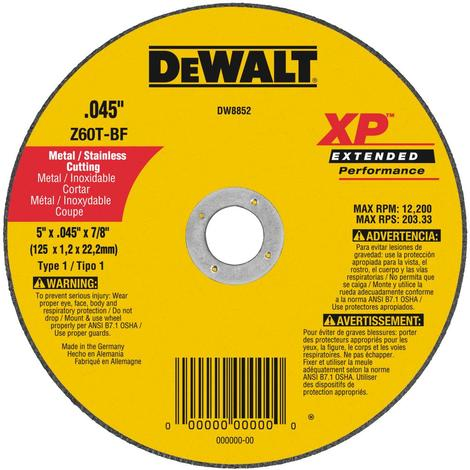 DeWalt 5 In. x .045 In. x 7/8 In. XP Metal and Stainless Cutting