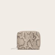 Snakeskin Print Zip Around Purse