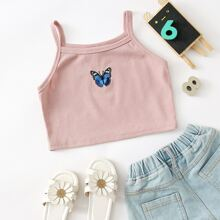 Girls Butterfly Embroidered Rib-knit Cami Top