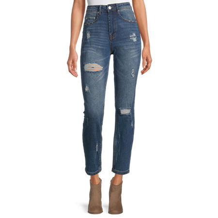 Almost Famous - Juniors Womens High Rise Straight Leg Jean, 0 , Blue
