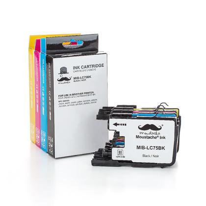 Compatible Brother LC75 cartouches encre bk/c/m/y de Moustache, ensemble de 4 paquet - haut rendement de LC71