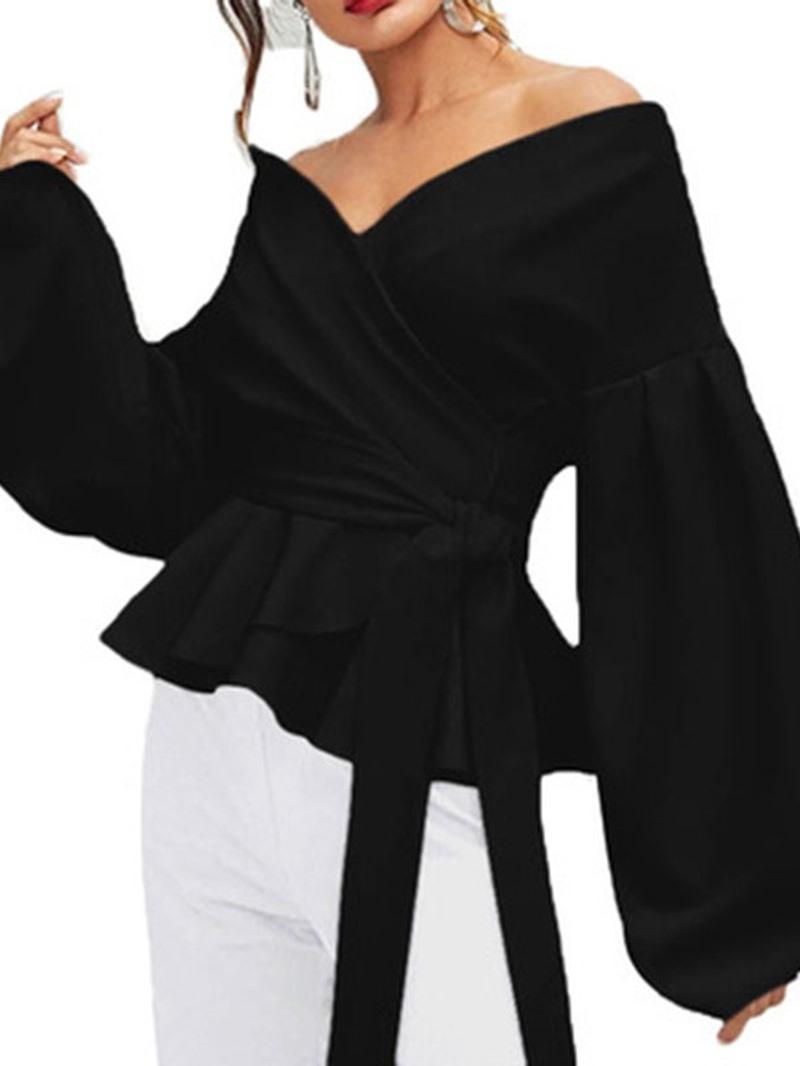 Ericdress Loose Plain V-Neck Lace-Up Lantern Sleeve Blouse