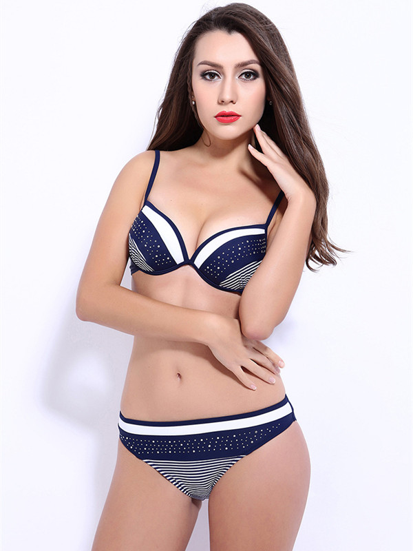 Patchwork Beading Striped Push up Bikini Set